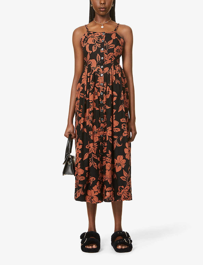 Thumbnail for your product : Free People Perfect Sundress graphic-print linen-blend midi dress