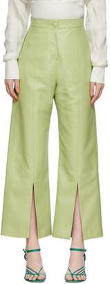 Materiel Tbilisi Green Faux-Leather Slit Pants