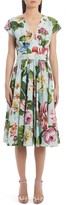 Dolce & Gabbana Floral Belted Cotton A-Line Dress