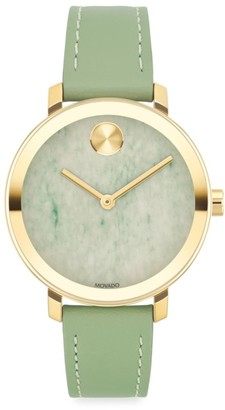 Movado Bold Evolution Yellow Gold IP & Green Leather Strap Watch