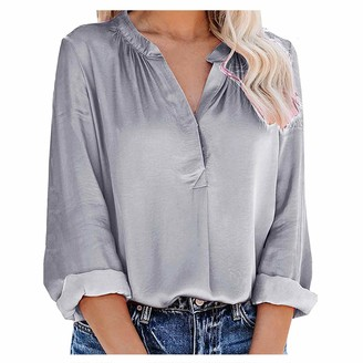 Cutudu Womens Casual Chiffon V Neck Long Sleeve Button Down Blouse Ladies Fashion Solid Color Shirts Tops T-Shirt (A-White L)