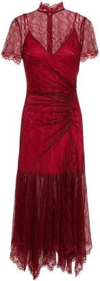 Jonathan Simkhai Ruched Chantilly Lace Midi Dress