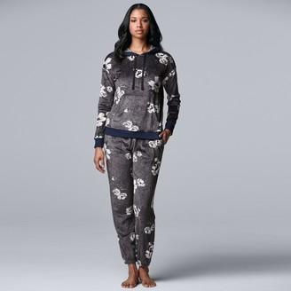 Women's Simply Vera Vera Wang Velour Hooded Pajama Top & Pajama Banded Bottoms