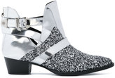 Philipp Plein glitter panel ankle boots - women - Calf Leather/Goat Skin/rubber - 36