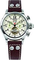 "Ingersoll Men's IN4506WHGR ""Bison Number 18"" Stainless Steel Watch with Leather Band"