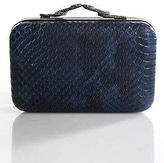 House Of Harlow Blue Embossed Leather Snake Charms Clutch Handbag New $198
