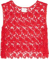 Stella Jean Cropped cotton-blend guipure lace top