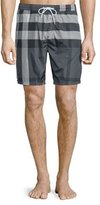 Burberry Check Swim Trunks, Charcoal