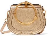 Chloé Exclusive Nile Bracelet Small Metallic Leather And Suede Shoulder Bag - Gold