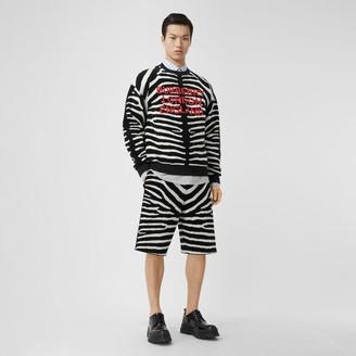 Burberry Zebra Wool Blend Jacquard Drawcord Shorts