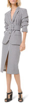 Michael Kors Gingham Slit Pencil Skirt