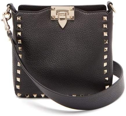Valentino Rockstud Leather Mini Hobo Bag - Womens - Black