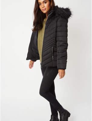 George Black Faux Fur Trim Chevron Padded Coat