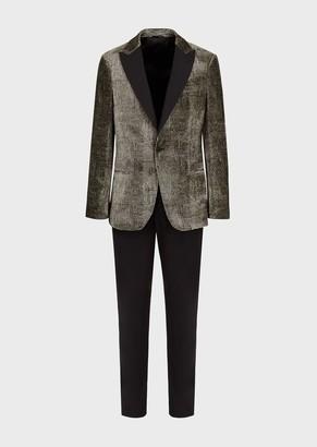 Giorgio Armani Half Canvas Slim-Fit Soho Collection Tuxedo Jacket In Optical-Effect Velvet