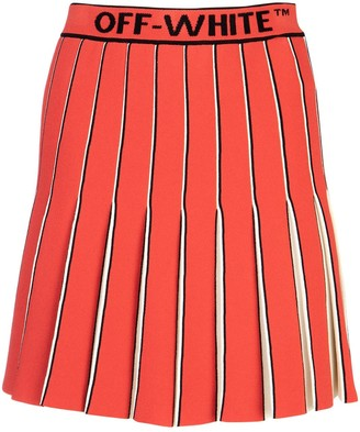 Off-White Striped Waistband Pleated Skirt