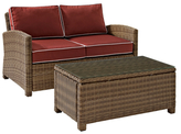 Crosley Baltimore Outdoor Wicker Seating Set with Cushions (2 PC)