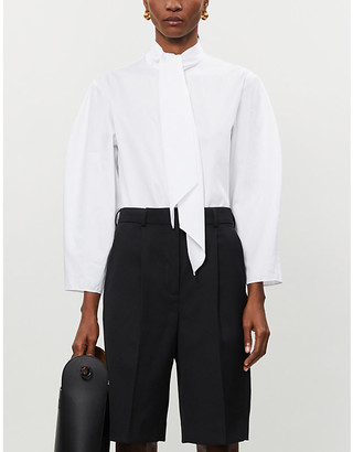 Camilla And Marc Lilith self-tie neck cotton-poplin shirt