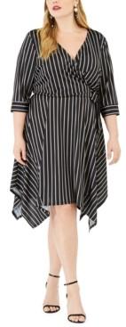 Love Squared Trendy Plus Size Handkerchief-Hem Wrap Dress