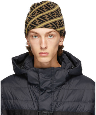 Fendi Brown and Yellow Wool Forever Beanie
