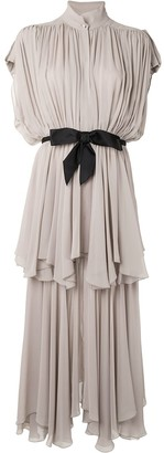 Giambattista Valli Tiered Gathered Dress With Bow-Fastening Waist