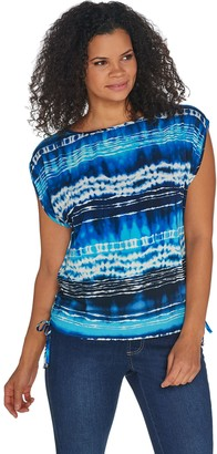 Belle By Kim Gravel Ombre Print Ruched Side Tie Top