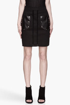 Proenza Schouler Black leather pocket Crocheted Pencil Skirt