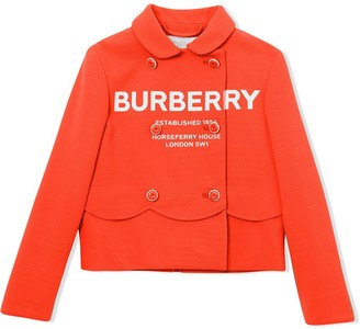 BURBERRY KIDS Logo Print Crepe Jersey Double-breasted Jacket