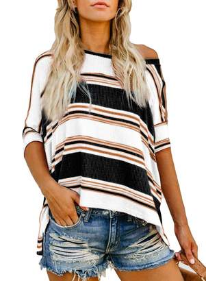 Private Label Bdcoco Women's Crewneck Striped Color Block Blouse Tops Short Sleeve Casual Loose Knit Shirts Black-White