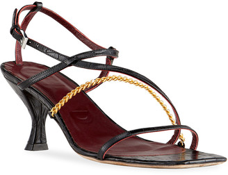 STAUD Gita Mock-Croc Chain Sandals