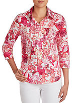 Allison Daley 3/4 Sleeve Button-Front Printed Blouse