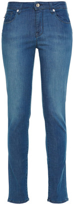 Love Moschino Embroidered Faded Mid-rise Slim-leg Jeans