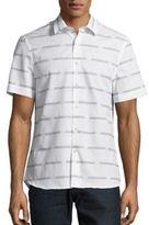 Perry Ellis Slim-Fit Graphic Line Cotton Sportshirt