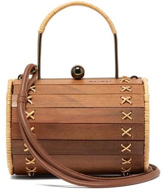 Wai Wai - Alix Wood And Rattan Cross-body Bag - Brown