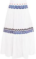 Temperley London Spellbound Embroidered Poplin And Swiss-dot Cotton Midi Skirt - UK12