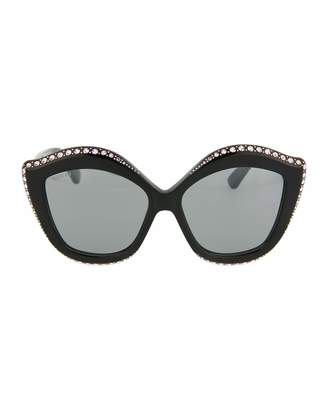 Gucci Swarovski Squared Cat-Eye Sunglasses