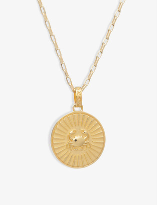 Rachel Jackson Zodiac Art Coin Cancer long 22ct gold-plated sterling silver necklace
