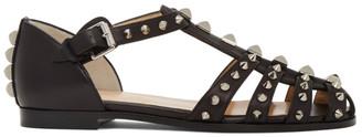 Christian Louboutin Black LoubiClou Flat Sandals