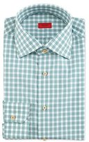 Isaia Box-Check Woven Dress Shirt, Soft Green