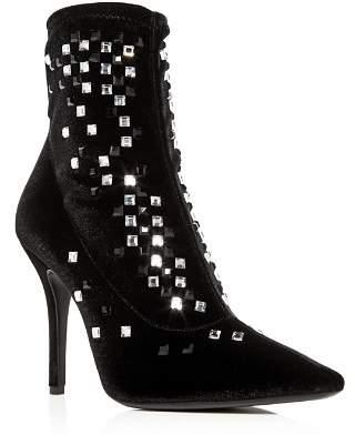 Giuseppe Zanotti Women's Crystal Studded Velvet Pointed Toe Booties