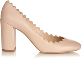 Chloé Lauren scallop-edged block-heel leather pumps