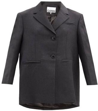 Ganni Oversized Wool-blend Jacket - Grey
