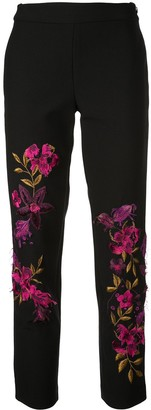 Josie Natori floral-embroidered trousers