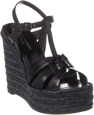 Saint Laurent Espadrille 85 Leather Wedge Sandal