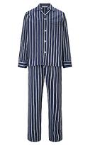 Derek Rose Stripe Woven Cotton Pyjamas, Navy/blue