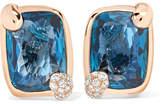 Pomellato Ritratto 18-karat Rose Gold, Topaz And Diamond Clip Earrings