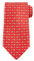 Salvatore Ferragamo Turtle-Print Silk Tie, Red/Green