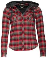 Converse Womens Tasha Pocket Checked Hooded Jacket Burgundy Multi