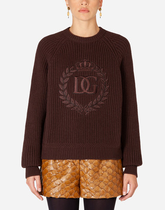 Dolce & Gabbana Ribbed Cashmere Turtle-Neck Sweater With Embroidery