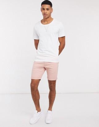 Topman super skinny chino shorts in pink