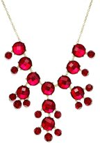 Stephan & Co Gold-Tone Red Stone Bauble Frontal Necklace